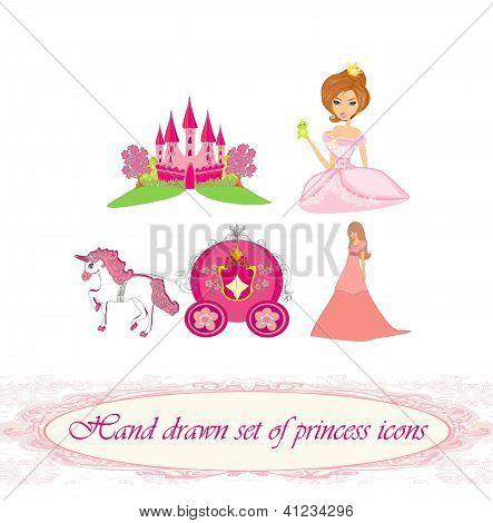 Hand gezeichnete Reihe von Princess Icons