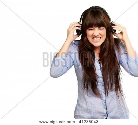 Irritate Girl listening Music On White Background