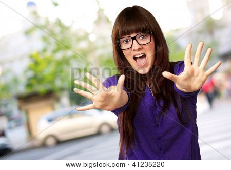 Woman Stopping With Hands, Outdoor