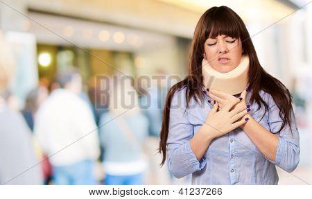 Woman Wearing Neck brace, Outdoor