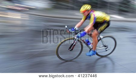 Speedy Bicyclist In Motion