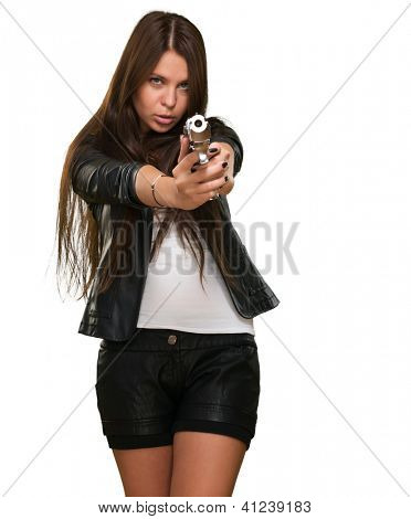 Portrait Of A Woman Holding Gun Isolated On White Background