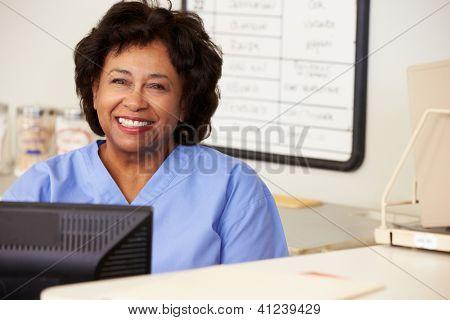 Nurse Using Computer At Nurses Station