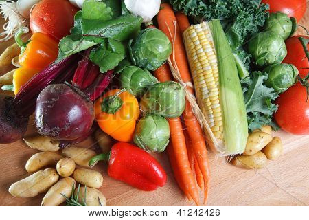 Selection of colorful fresh vegetables.