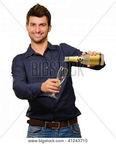 Happy Young Man Pouring Champagne Into Glass Isolated On White Background