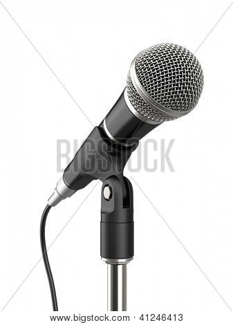 Microphone on white background. Computer generated image.