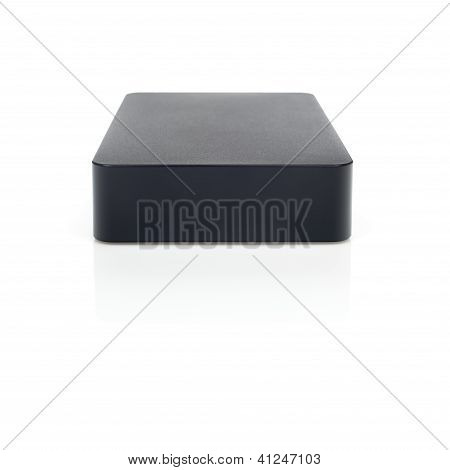 Hard Disk External Black And Reflection On White Background