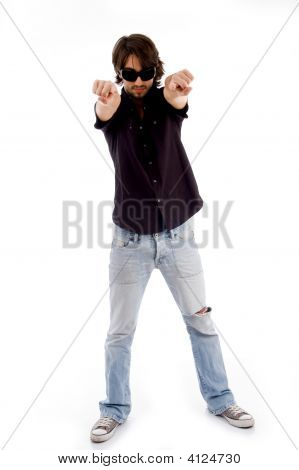 Standing Male Pointing At Camera With Both Hands