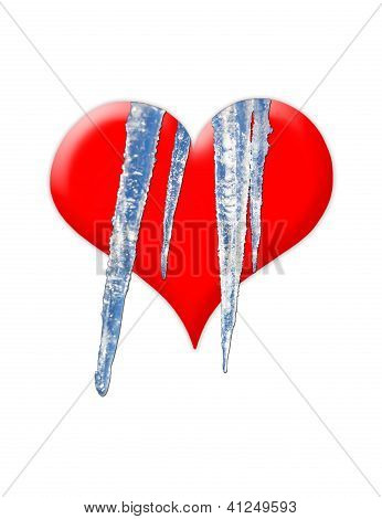 red callous heart with cold icicles isolated on the white background