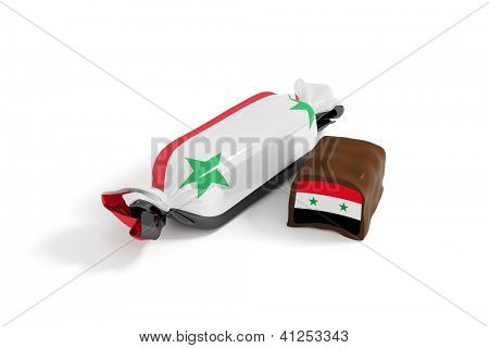 sweet chocolate candy with flag of syria