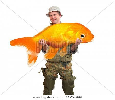 The fisherman with big fish - The Goldfish (Carassius auratus). Success concept.