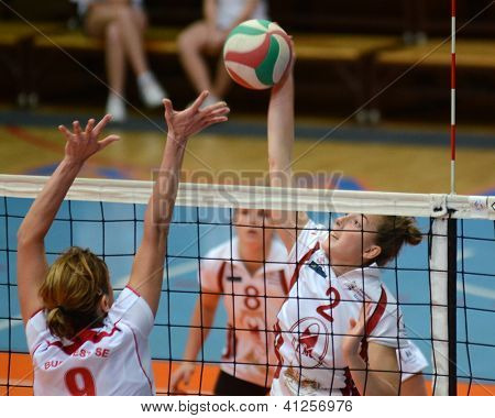 KAPOSVAR, HUNGARY - JANUARY 13: Zsanett Pinter (2) in action at the Hungarian I. League volleyball game Kaposvar (white) vs Budapest SE (white), January 13, 2013 in Kaposvar, Hungary.
