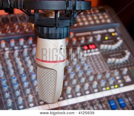 Recording Studio Microphone Over Sound Mixer