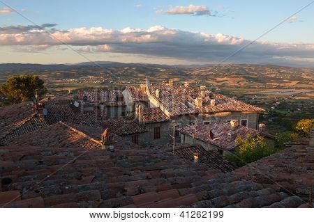 red-tiled terracotta rooftops, Umbrian Landscapes, Italy
