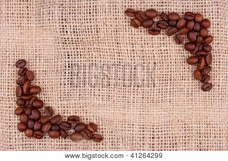 Coffee beans on the burlap make view finder