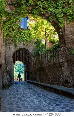 Cobblestone arched walkway, Italian Architecture - Umbria