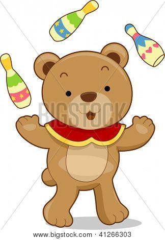 Cartoon illustration of a circus bear juggling bowling pins