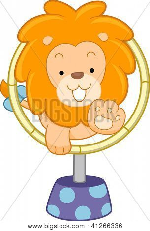 Cartoon illustration of a Circus Lion jumping through hoop front view