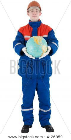 Worker With Globe