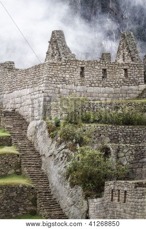 agricultural sector terraces and buildings, Machu Picchu, Sacred Valley, Peru