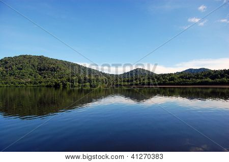 Mountains Reflection At River Water Surface