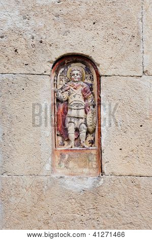 Engraved element at the wall of the aged church in Kutaisi Gerogia