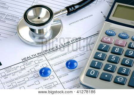 Rising medical cost in the United States isolated on blue