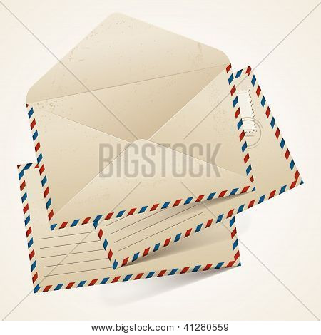 Stack of old  vintage envelopes.