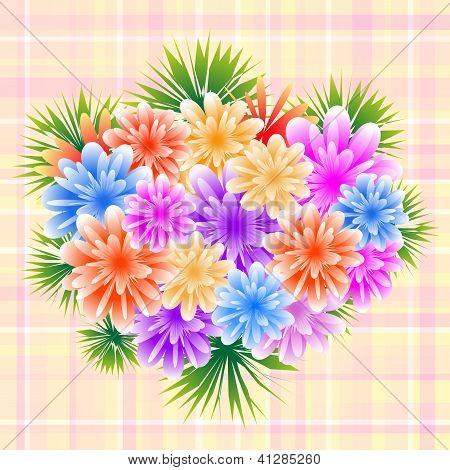 Flower Bouquet On Check Background