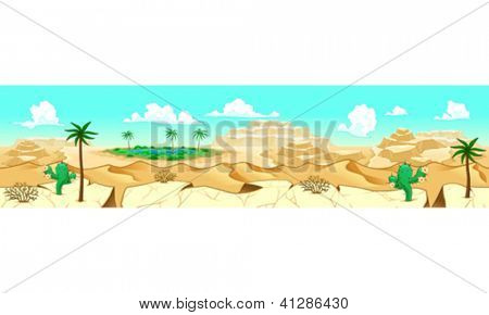 Desert with oasis. Vector illustration with measures: 6144x1536 pixels, adaptable to iPad screen. The sides repeat seamlessly for a possible, continuous animation.