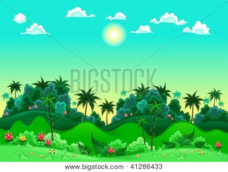 Green forest. Vector illustration. The sides repeat seamlessly for a possible, continuous animation.