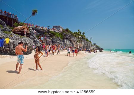 People Enjoying In Tulum Beach
