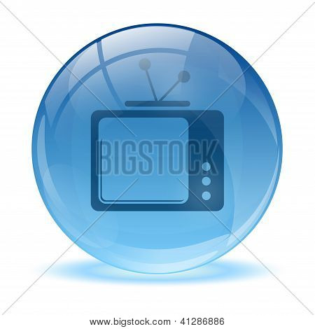 3D Glass Sphere And Tv Icon