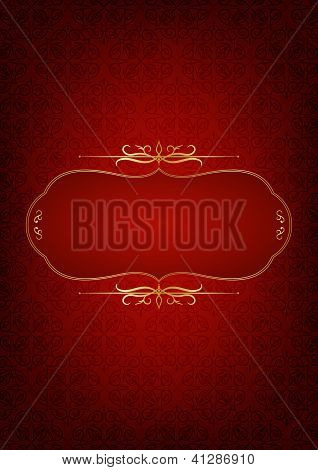 Abstract Red Background Decorated With Floral Motifs