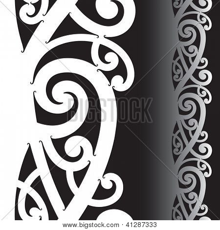 Maori styled tattoo pattern. Seamless illustration. Raster. Check my portfolio for a vector version.