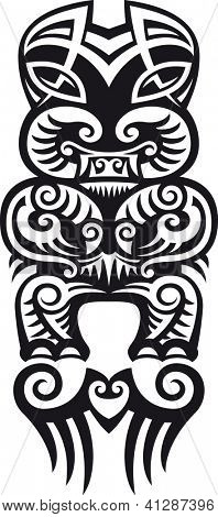 Taniwha the monster. Maori styled tattoo design. Raster. Check my portfolio for a vector version.