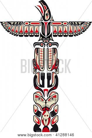 Haida style totem pattern created with animal images. Raster. Check my portfolio for a vector version.