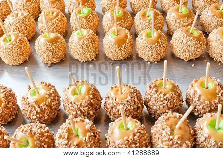 Batch Of Caramel Apples With Nuts