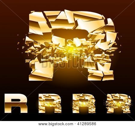 A vector letters set of a broken golden alphabet. Symbol r