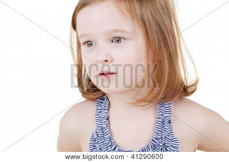 Portrait of little girl in striped swimsuit