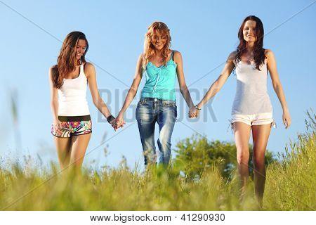 women fun on grass field