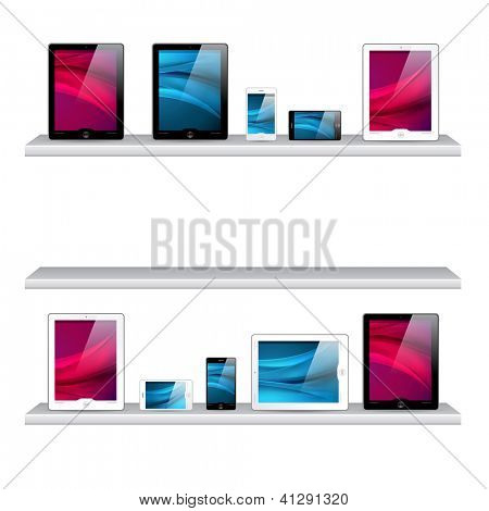 bookshelf, tablet computers and mobile phone icons - isolated on white background