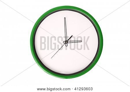 A clock showing 3 o'clock. Isolated on a white background.