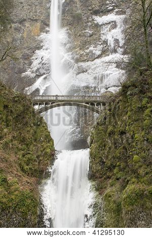 Bridge Along Hiking Trails At Multnomah Falls