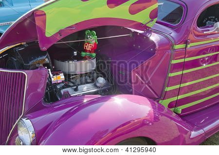 Purple 1936 Ford Coupe Engine