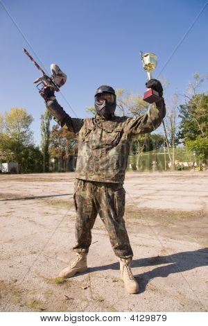 Paintball Player With Gold Cup