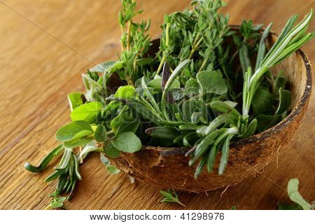 various herbs spices (rosemary, thyme, oregano)