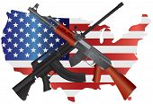 foto of bans  - Assault Rifles AR 15 and AK 47 Semi Automatic Weapons on USA Map Flag Second Amendments Consitution Illustration - JPG
