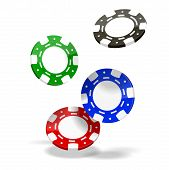 stock photo of gambler  - Vector Poker Chips isolated on white background - JPG