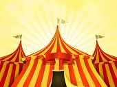 stock photo of marquee  - Illustration of cartoon yellow and red big top circus tents background with marquee or banner on a summer sky background - JPG